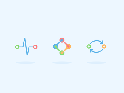 Product Icons - WeThrive illustration coach engage pulse blue vector minimal software iconography icon product