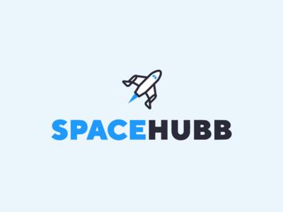 Space + Rocket Logo vector brand branding blue iconography modern logo design logo icon illustration rocket space
