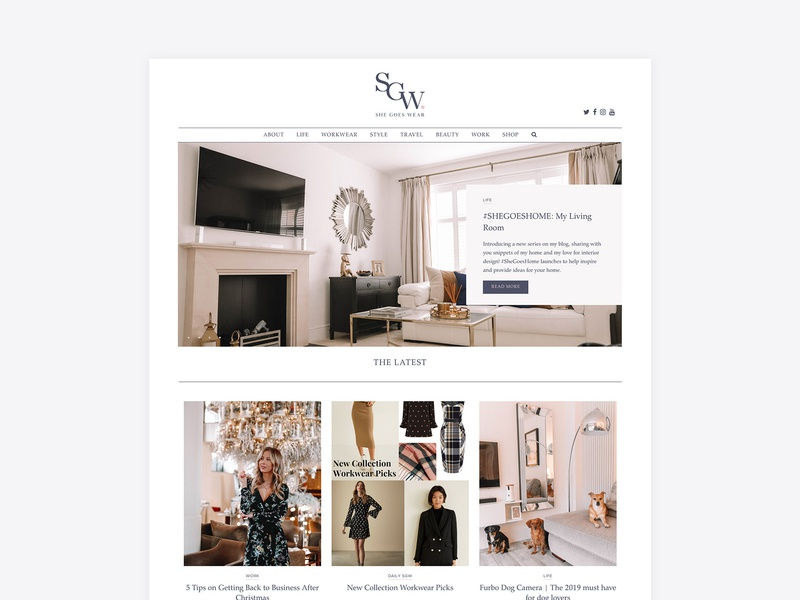 She Goes Wear - Workwear fashion and lifestyle blog wordpress fashion blog blog design clean website web design identity logo design branding