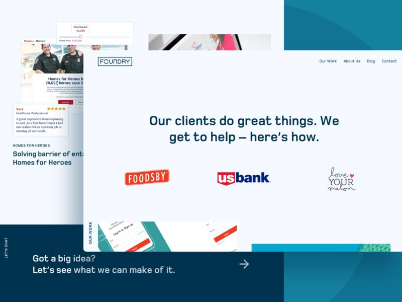 Foundry Website website landing page public site ui ux product design agency