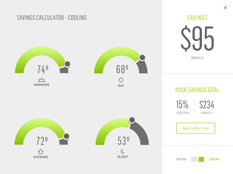 Savings Calculator UI tablet slider temperature slider ui
