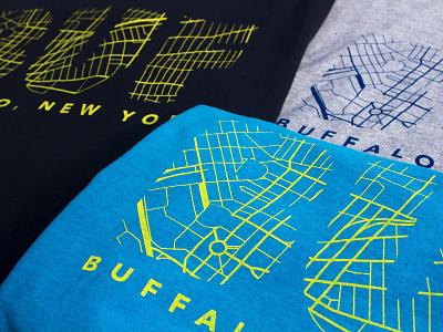 Buffalo Map Screen Printed T-Shirt print graphic design map silkscreen t-shirt shirt screen print