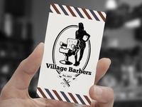 Village Barbers Business Card Mockup
