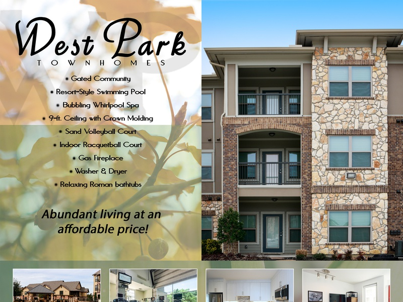 Westpark Townhomes advertisementdesign coverdesign pagelayout advertisement circular classified townhomes apartments northtexas scottyofeden design logo texas graphicdesign fortworth scottymorris