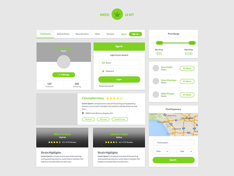 Weed Ui Kit ~ Free Sketch Download free download roccano medical marijuana marijuana cannabis dispensary sketch sketchapp kit ui weed
