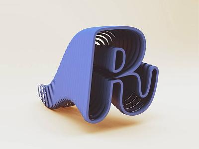R for Roccano cinema alphabet letter lettering 3d design design c4d 3d roccano r