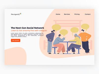 Nextgently Homepage social homepage branding illustration design