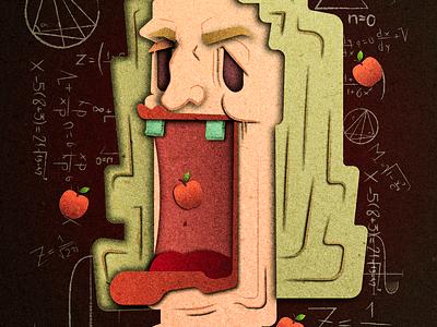 Issac Newton peru lima vectorial gsus paper effect illustration science genius fisic issac newton