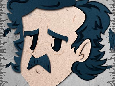 Allan Poe peru lima vectorial gsus paper effect illustration genius allan poe