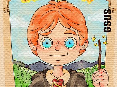 Ron Weasley harrypotter illustration for children kids gsus art illustration