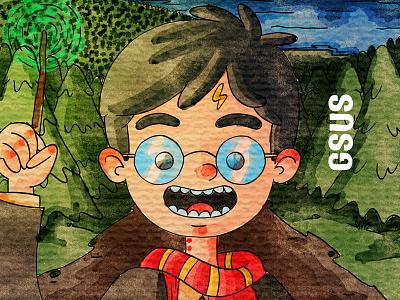 Harry Potter harrypotter watercolor kids illustration for children gsus art illustration