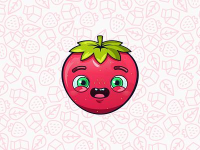 Oww Strawberry - Juice Milk strawberry juice milk design gsus art vectorial kids illustration for children illustration