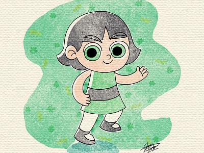 Buttercup powerpuff girls watercolor illustration for children gsus art illustration