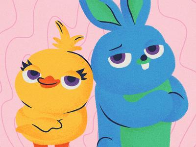 Ducky And Bunny disney pixar art pixar chalk kids illustration for children gsus art illustration