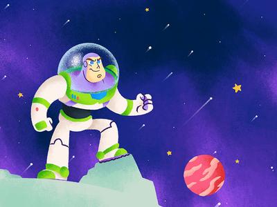 Buzz In The Space pixar art pixar chalk kids illustration for children gsus art illustration