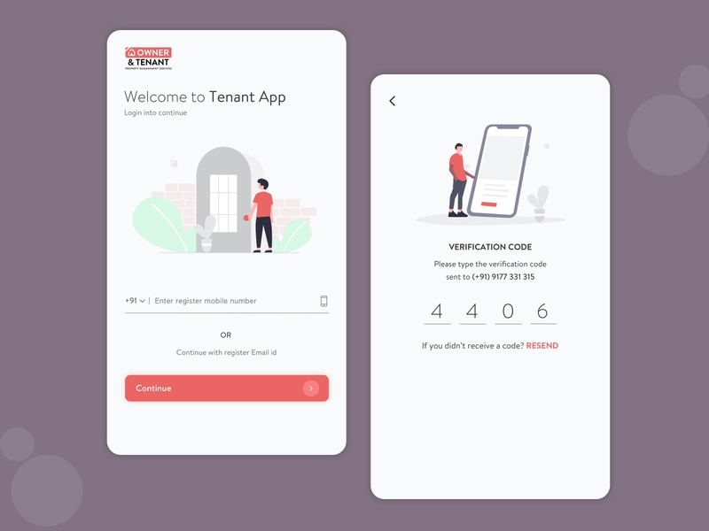 Tenant app screen design sketch ui