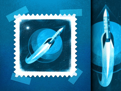 Around the World 🚀 ufo postage space race usps stamps scifi stamp astronaut spaceship space rocket spacex nasa outer space retro illustrator vector icon illustration san diego