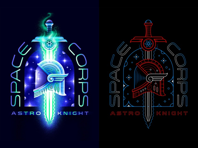Astro Knight ⚔️ Badge Design