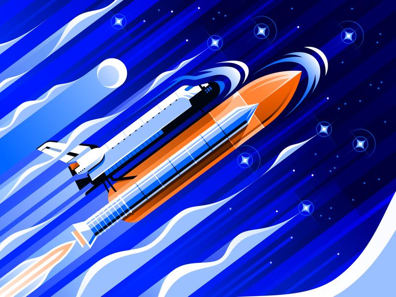 Space Shuttle Endeavour scifi moon landing moon art deco space exploration rocket endeavour astronaut space shuttle spaceship space outerspace spacex nasa outer space adobe illustrator illustrator vector illustration san diego