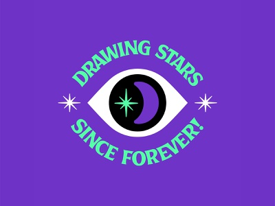 Drawing Stars Since Forever ✨ Badge Design mystical eye cosmic draw logo branding crescent moon stars space iconography badge magical outer space occult adobe illustrator illustrator vector icon illustration san diego