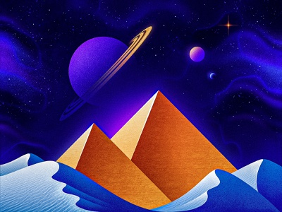 Build Your Own Pyramids (of Mars) egypt egyptian desert outerspace saturn mars scifi synthwave pyramids pyramid cosmos astronaut aliens alien nasa outer space occult illustrator illustration san diego