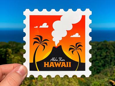 Hawaii Sticker Stamp postal service postage postcard usps stamp palm tree polynesian mid century volcano tiki hawaiian hawaii badge retro adobe illustrator vector illustrator icon illustration san diego