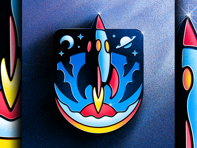 Blast Off Badge 🚀 Enamel Pin cosmonaut cosmos tomorrowland cosmic spaceship lapel pin enamel pin astronaut space force spacex blastoff rocketship rocket space badge nasa outer space illustrator illustration san diego