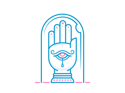 All Seeing Hand (Mystic Icons 3/3) san diego magical henna illustration relic mystical occult adobe illustrator icon palm reading cyclops hand of fatima