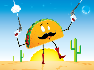 Celebrate National Taco Day bandito san diego magnificent mustache cowboy boots national taco day taco tuesday illustration cowboy vector desert tacos taco