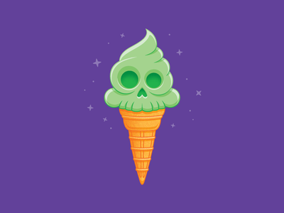 Minty Fresh To Death san diego skull art dessert halloween candy concept icon design wafer cone marshmallow mint skull ice cream cone ice cream