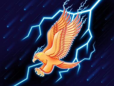 Thunderbird san diego thunderstorm mythical magical magic thunder lightning adobe illustrator vector fantastic beasts birds of prey thunderbird