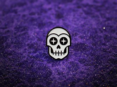 The Star Gazer Lapel Pin dia de los muertos halloween enamel pin illustration starry eyed san diego spooky skeleton icon design occult lapel pin skull