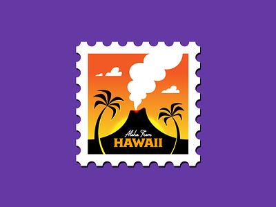 Hawaii Stamp paradise tropical icon illustration san diego sunset volcano aloha maui postage stamp hawaii