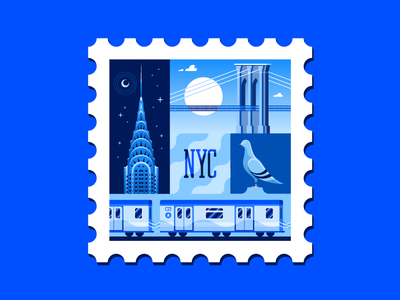 New York City Stamp monochromatic downtown train subway chrysler building brooklyn pigeon nyc stamp postage icon new york city