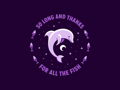 Hitchhiker's Guide to the Galaxy flat design icon design illustration vector marine life cosmic san diego outer space fish galaxy dolphin hitchhikers guide to the galaxy