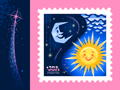Night & Day Postage Stamp Illustration dribbblers fantasy disneyland disney mary blair postage usps stamp typography magical retro outer space illustrator adobe illustrator vector icon illustration san diego moon sun