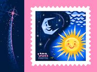 Night & Day Postage Stamp Illustration