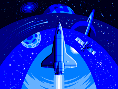 Frontiers 🚀 (NASA Tribute) space art astronaut aerospace explorers cosmos moon saturn satellite rocket space ship space shuttle space age space nasa outer space illustrator adobe illustrator vector illustration san diego