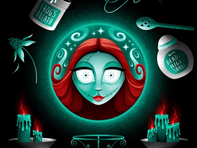 Madame Sally 🔮 fantasy disney art crystal ball magical photoshop texture tim burton san diego illustration illustrator sally madame leota fortune teller psychic halloween occult disneyland disney haunted mansion nightmare before christmas