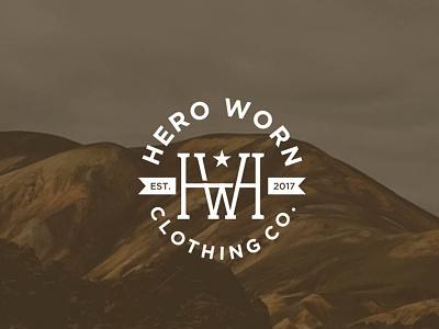 Classic Vintage Logo Design for HeroWorn Clothing emblem badge monogram ambigram letter hw clothing vintage classic simple logo