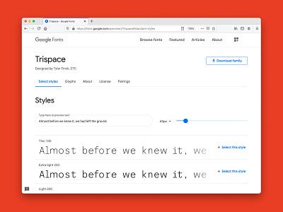 Trispace is now on Google Fonts type designer google fonts google free font fonts typography open source type design