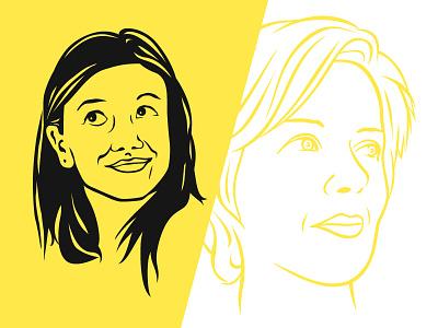 One Color Heads women face people illustration portrait vector