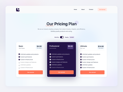 Pricing Plan Page Concept layout concept pricing plan pricing table saas plan saas app website pricing clean minimal design ui