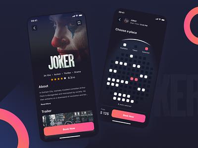Cinema Ticket App application app clean booking reservation movie joker minimal design cinema ux ticket ui