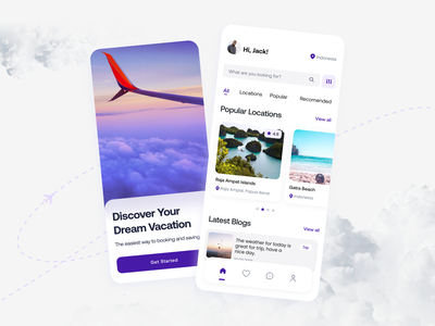 Concept: Travel App ui design clean design minimal tourism app vacation travel tourism trip travel app user interface ui ux booking ticket booking app ticket travelling mobile app app design