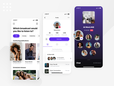 Broadcast App social social media feed profile app ux ui stream streaming twitch chat voice voice chat clubhouse