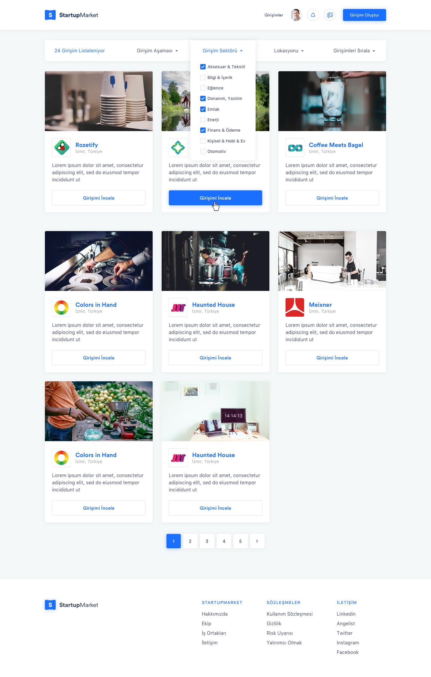 Startup listeleme yeni 2
