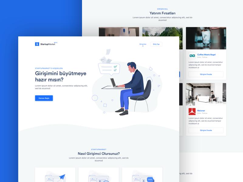 StartupMarket illustration landing experience interface user entrepreneur investment investor startup design startupmarket