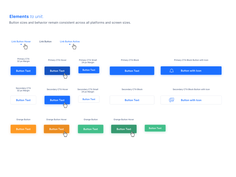 StartupMarket UI Guide ghost elements button style guide design ui