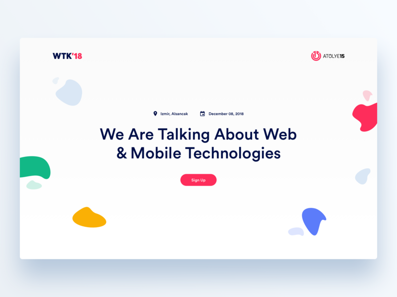 WTK18 Conference Landing Page flags badge minimal design event conference landing page izmir wtk18 clean illustration ui ux